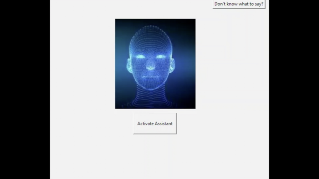 An image of an AI is visible on a desktop application, with a speak button underneath.