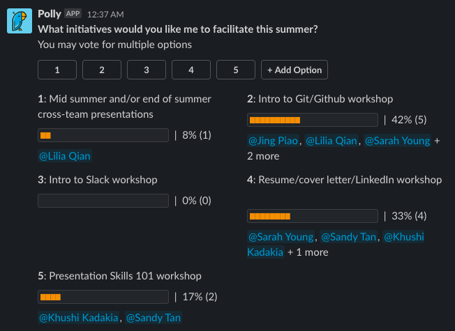 Poll asking students what initiatives they would like Caitlin to facilitate during the program such as mid-summer or end of summer cross-team presentations, intro to Slack workshop, presentation skills 101 workshop, intro to Git/Github workshop, and resume, cover letter, LinkedIn workshop. Most votes went towards Intro to Git.