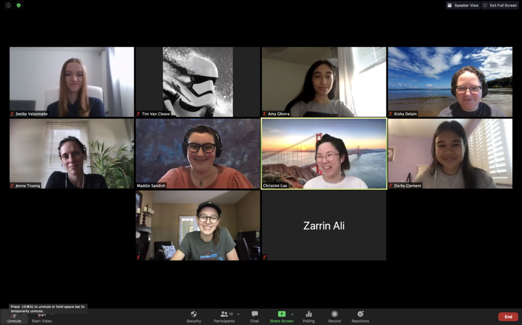 Tim's teams of women in a zoom conference smiling for the screen shot