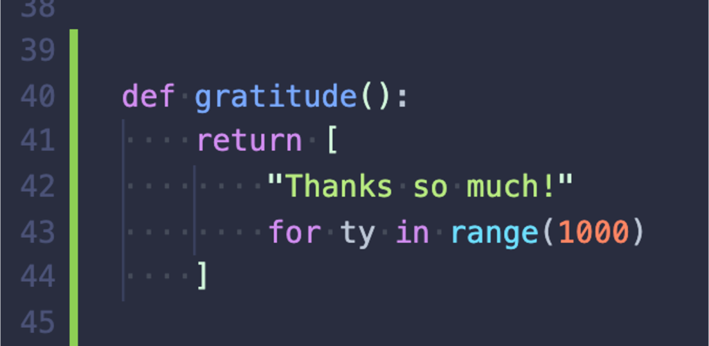 "image of code with an embedded ""thanks so much!"""