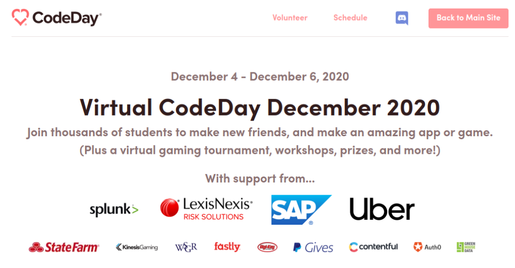A screenshot of sponsors on the Virtual CodeDay website.